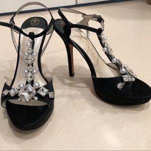 Ivanka Trump black heel with diamond rhinestones